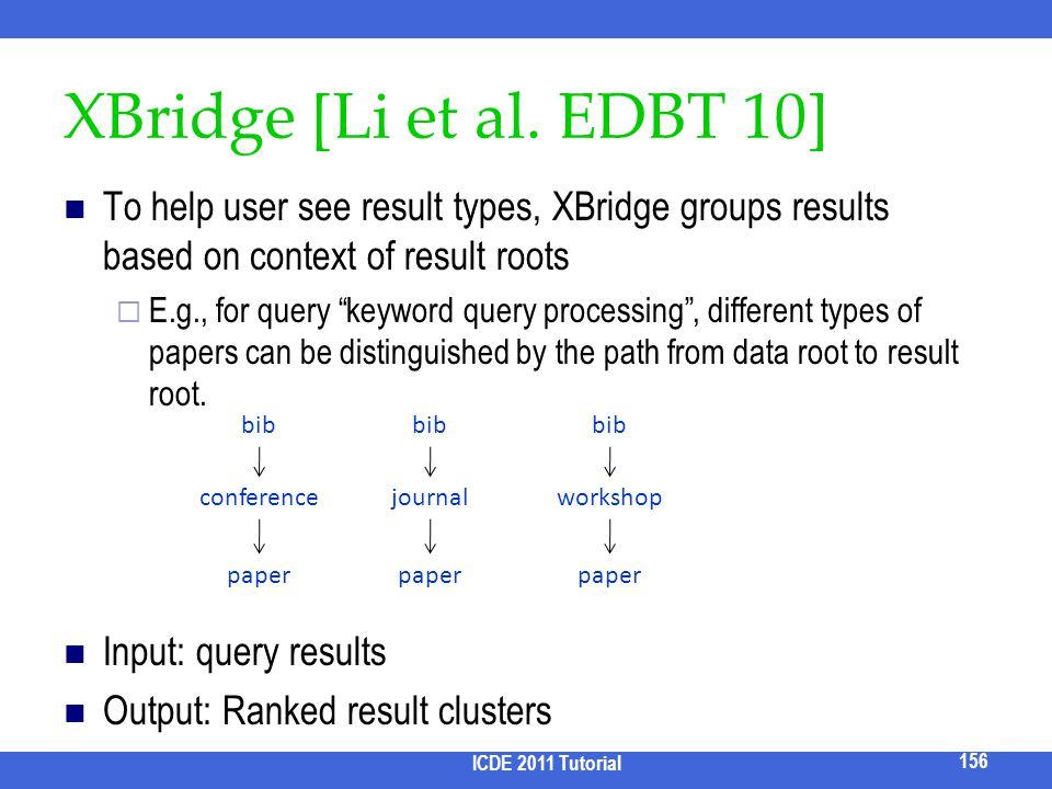 2017/3/31 XBridge [Li et al. EDBT 10] To help user see result types, XBridge groups results based on context of result roots.